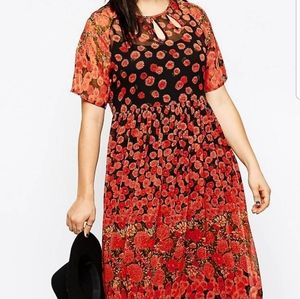 Asos Curve midi dress in poppy print